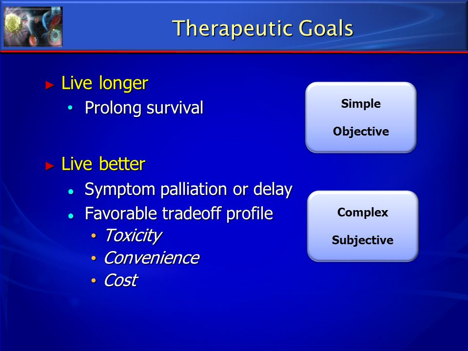 Therapeutic Goals Live longer Live better Prolong survival