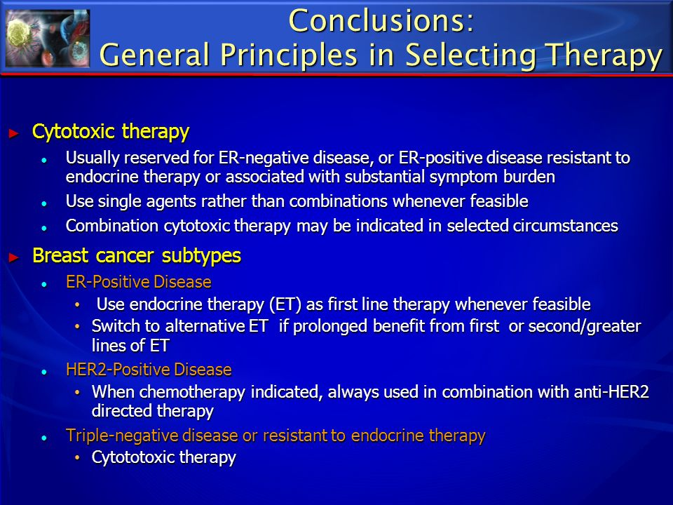 Conclusions: General Principles in Selecting Therapy