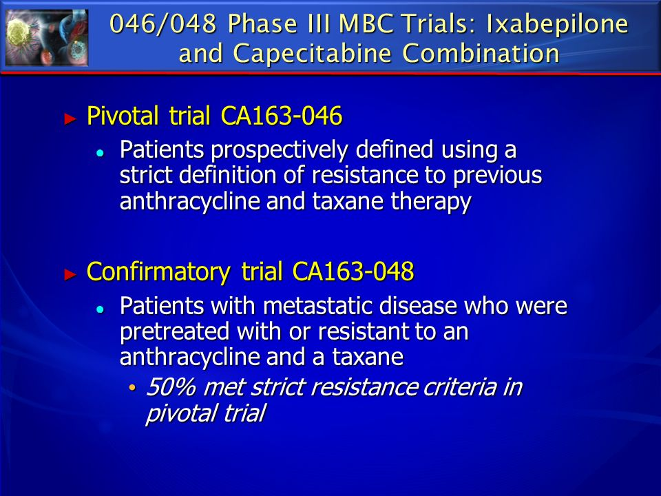 046/048 Phase III MBC Trials: Ixabepilone and Capecitabine Combination