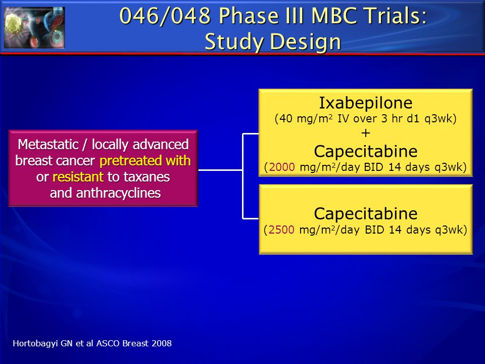 046/048 Phase III MBC Trials: Study Design