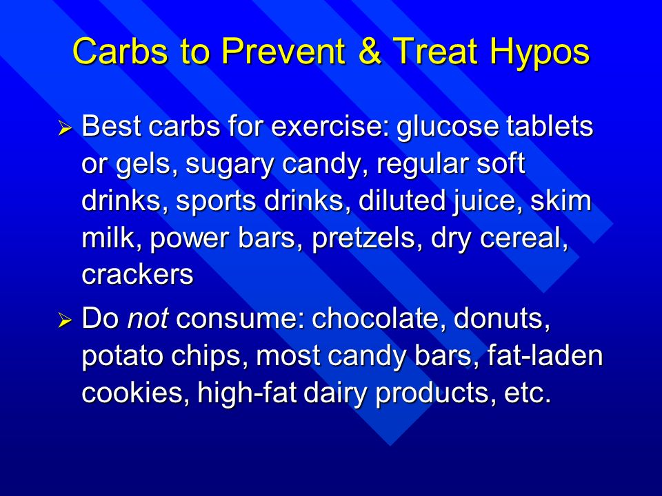 Carbs to Prevent & Treat Hypos