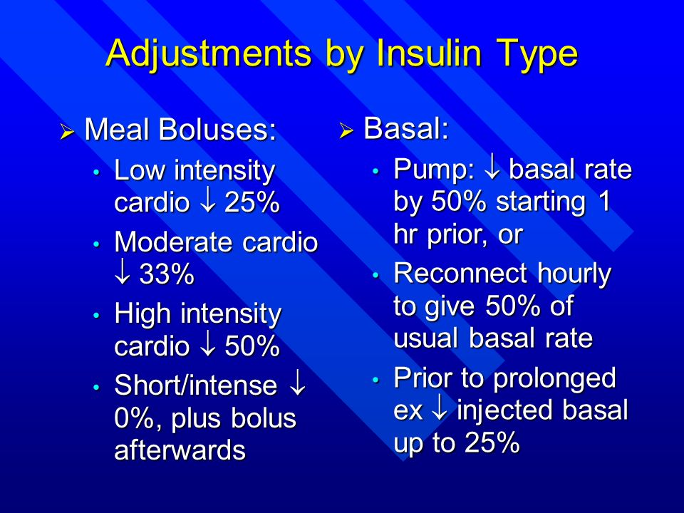 Adjustments by Insulin Type