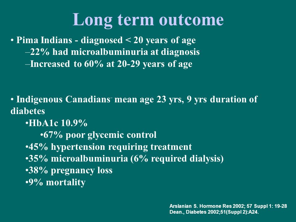 Long term outcome Pima Indians - diagnosed < 20 years of age