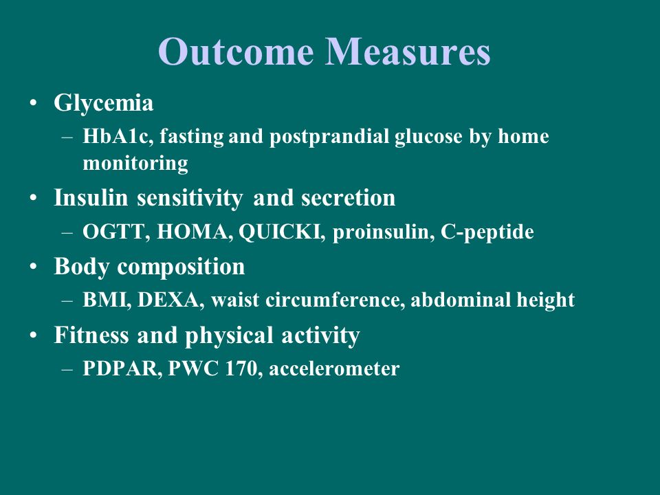 Outcome Measures Glycemia Insulin sensitivity and secretion