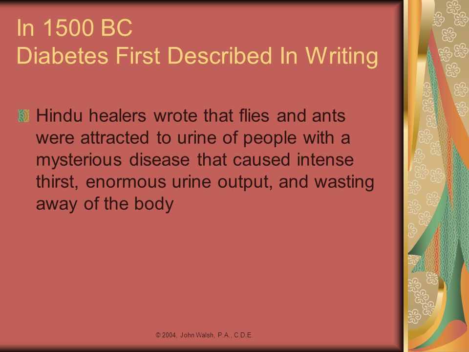 In 1500 BC Diabetes First Described In Writing
