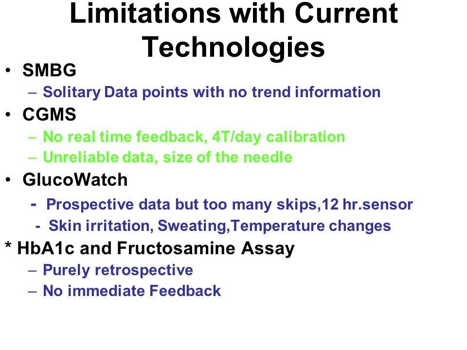 Limitations with Current Technologies