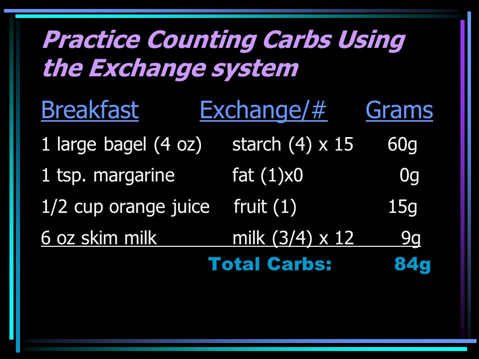 Practice Counting Carbs Using the Exchange system