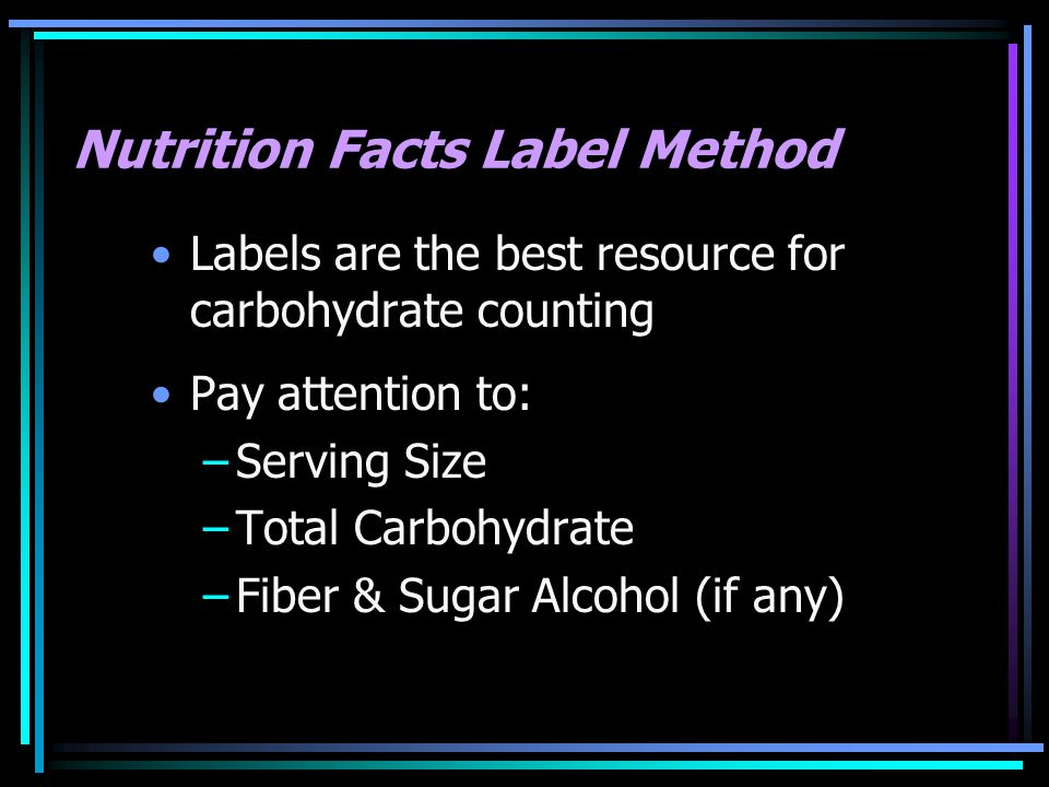 Nutrition Facts Label Method