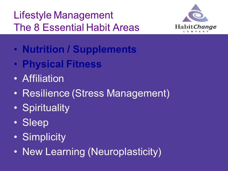 Lifestyle Management The 8 Essential Habit Areas