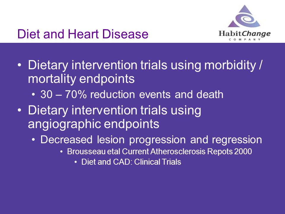 Dietary intervention trials using morbidity / mortality endpoints