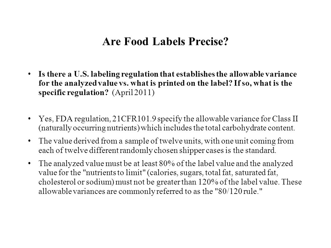 Are Food Labels Precise