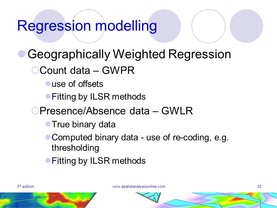 Regression modelling Geographically Weighted Regression