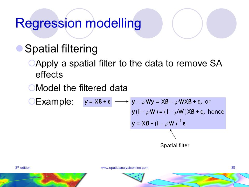 Regression modelling Spatial filtering