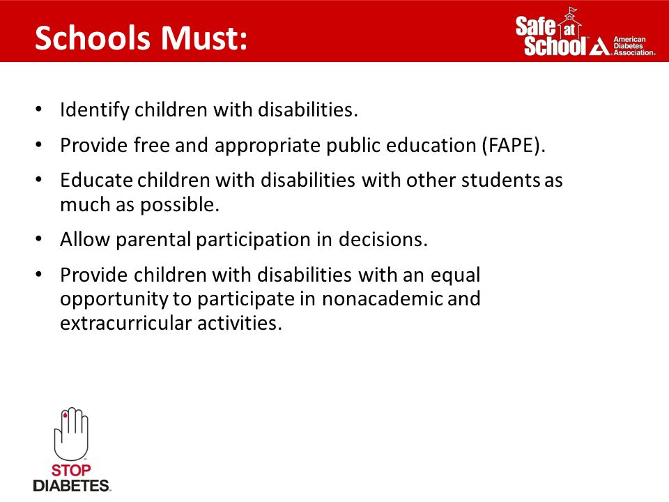 Schools Must: Identify children with disabilities.