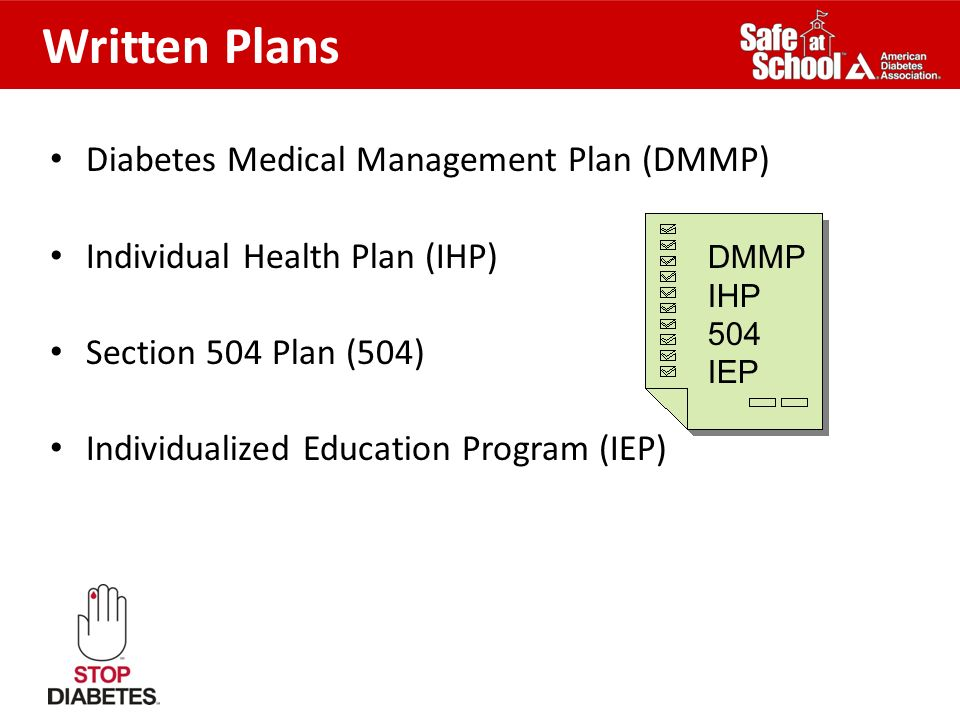 Written Plans Diabetes Medical Management Plan (DMMP)
