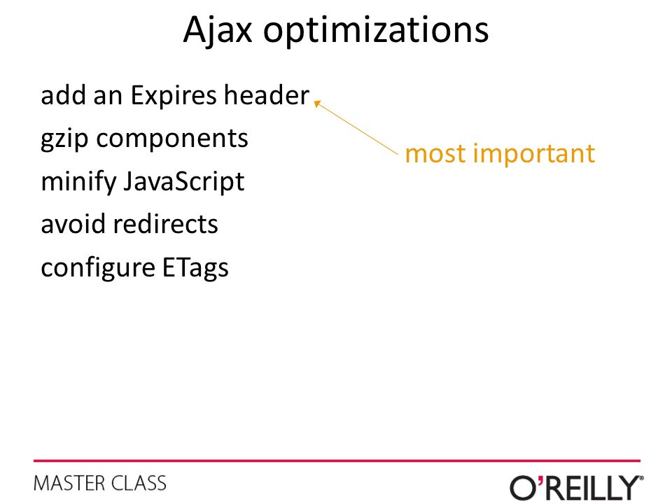 Ajax optimizations add an Expires header gzip components minify JavaScript avoid redirects configure ETags