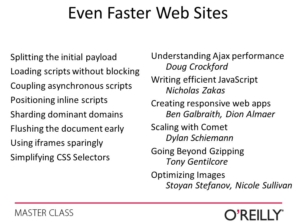 Even Faster Web Sites Splitting the initial payload