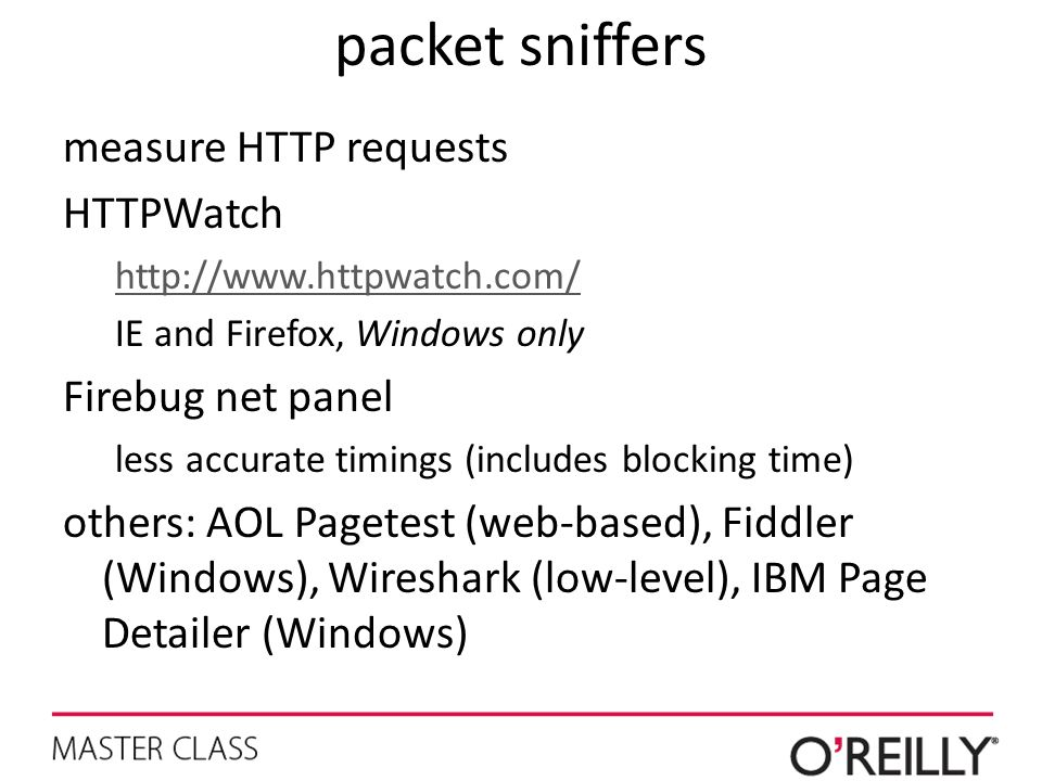 packet sniffers measure HTTP requests HTTPWatch Firebug net panel
