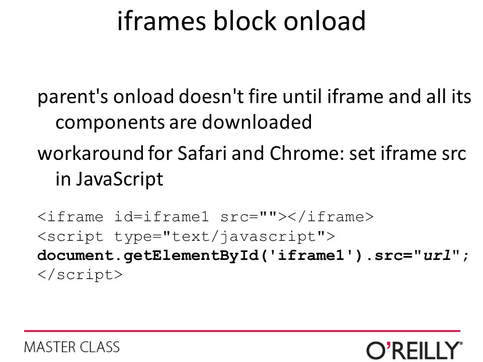iframes block onload parent s onload doesn t fire until iframe and all its components are downloaded.