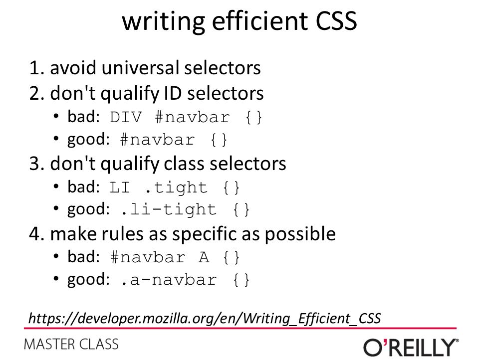 writing efficient CSS avoid universal selectors