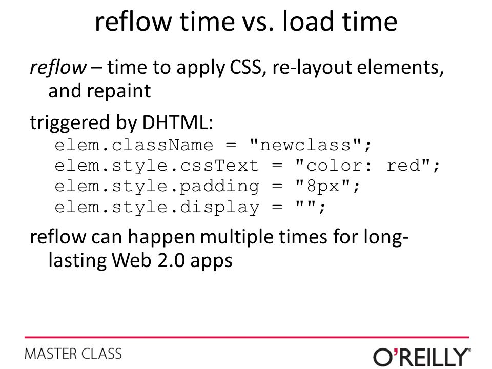 reflow time vs. load time