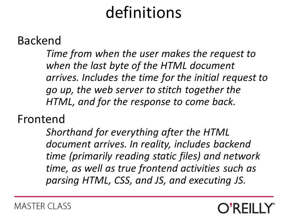 definitions Backend Frontend