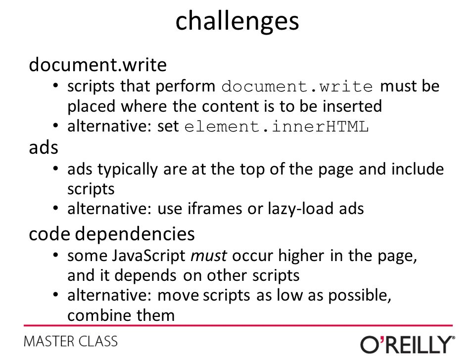 challenges document.write ads code dependencies