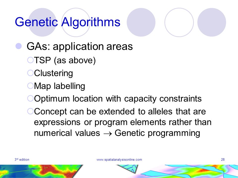 Genetic Algorithms GAs: application areas TSP (as above) Clustering