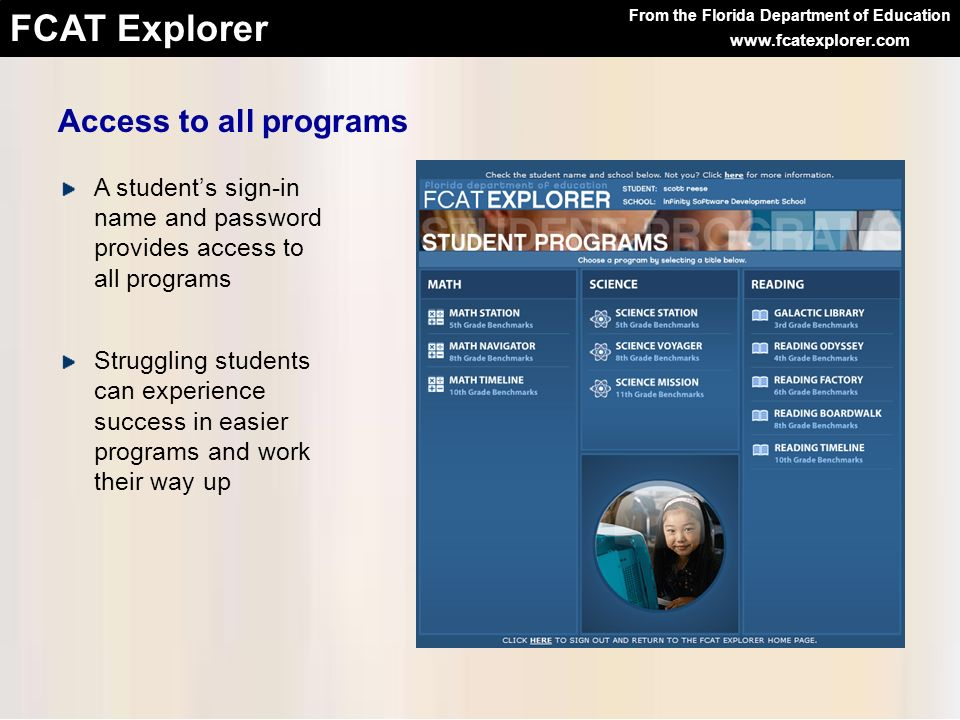 Access to all programs A student's sign-in name and password provides access to all programs.