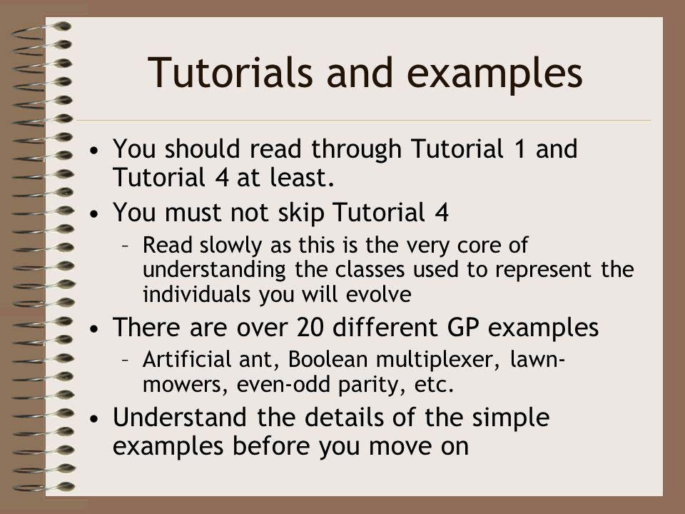 Tutorials and examples