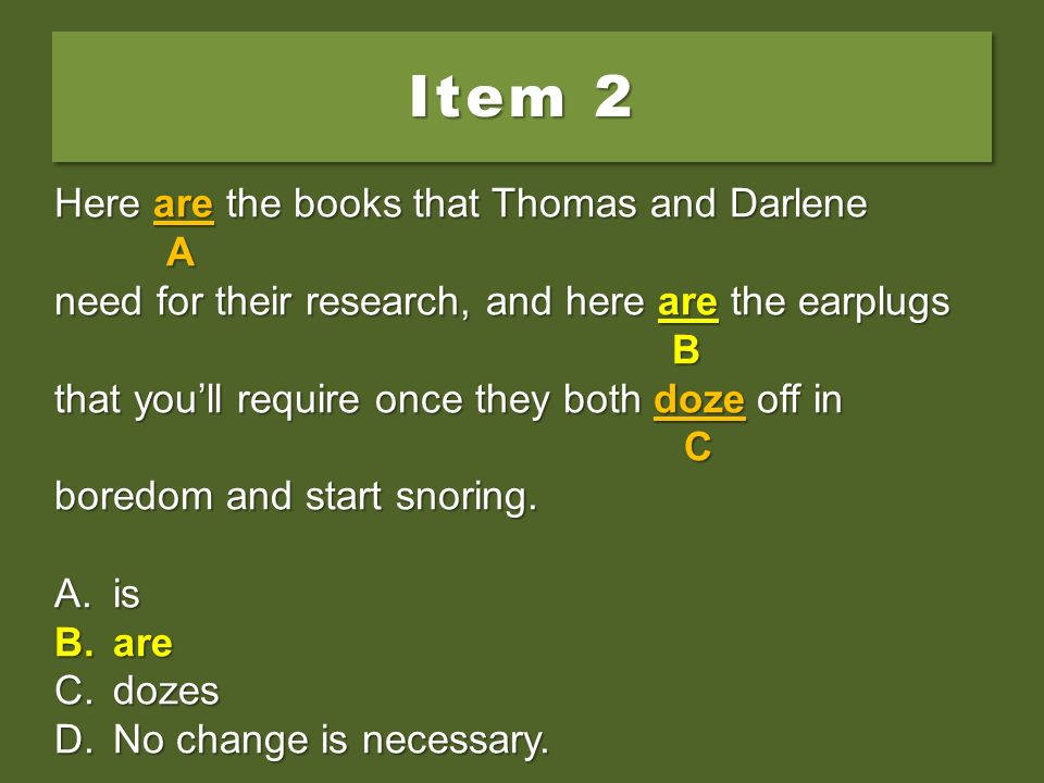 Item 2 Here are the books that Thomas and Darlene A