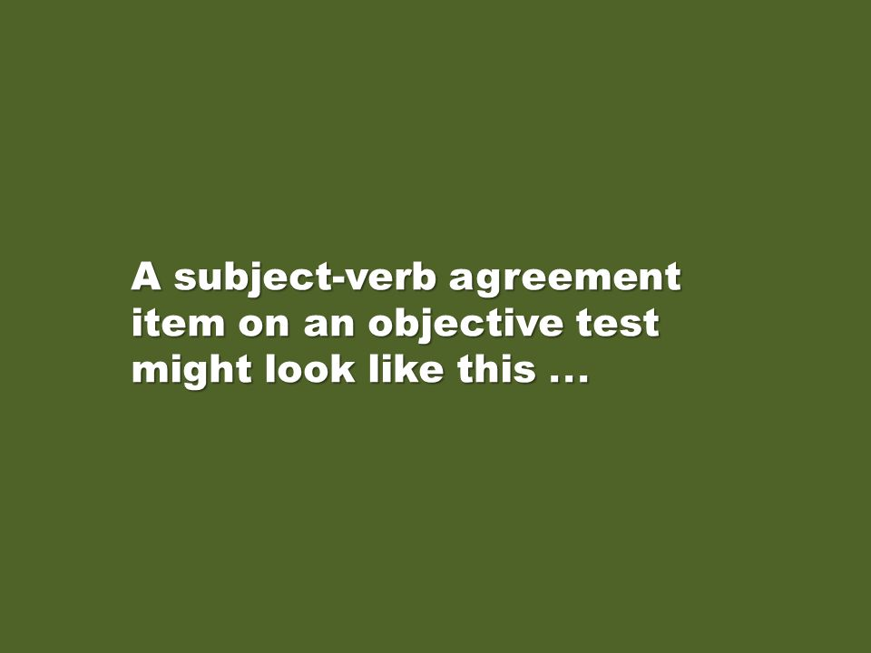 A subject-verb agreement item on an objective test might look like this . . .