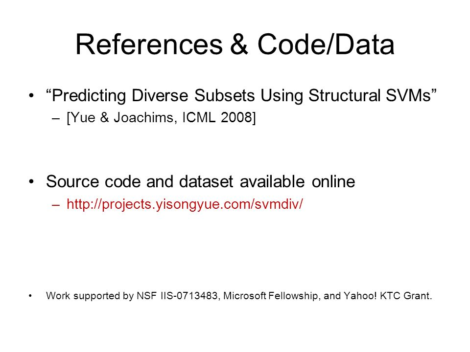 References & Code/Data