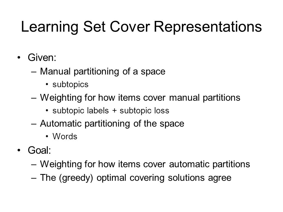 Learning Set Cover Representations