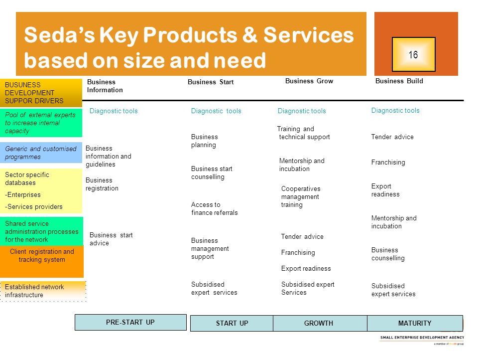 Seda's Key Products & Services based on size and need