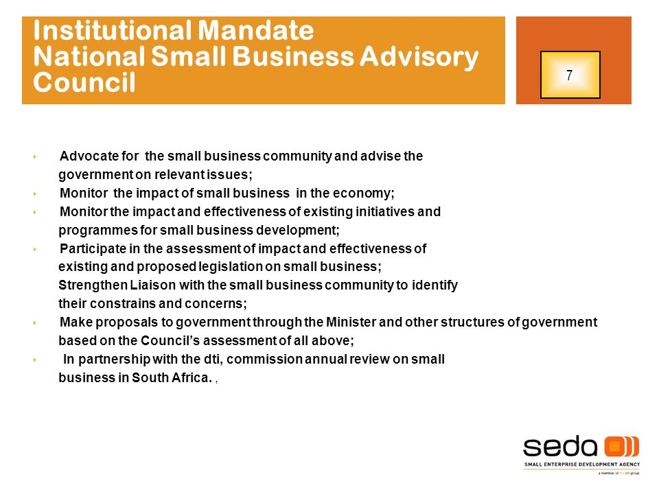 Institutional Mandate National Small Business Advisory Council