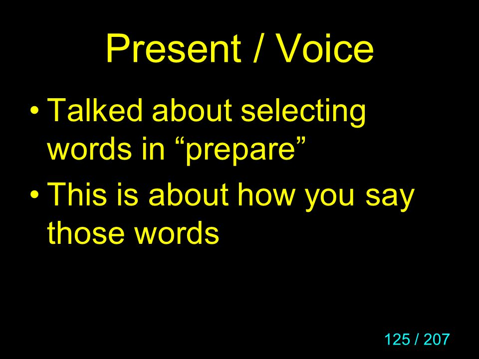 Present / Voice Talked about selecting words in prepare