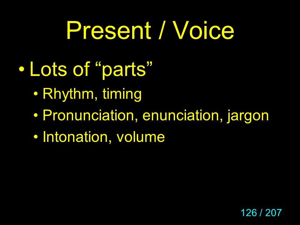 Present / Voice Lots of parts Rhythm, timing