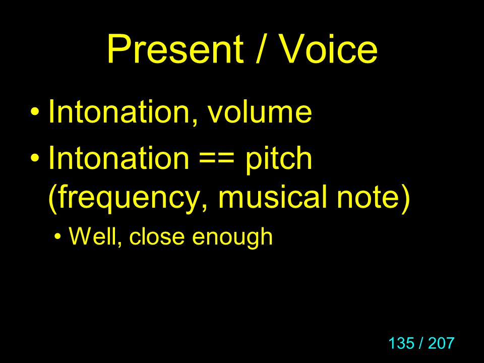 Present / Voice Intonation, volume