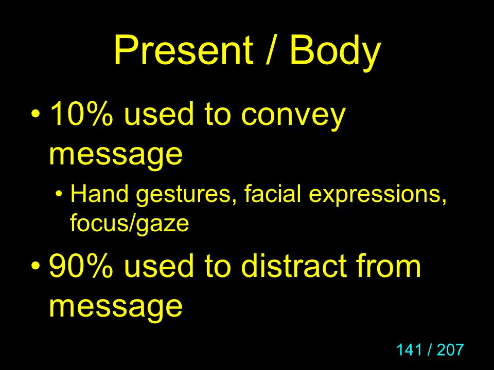 Present / Body 10% used to convey message