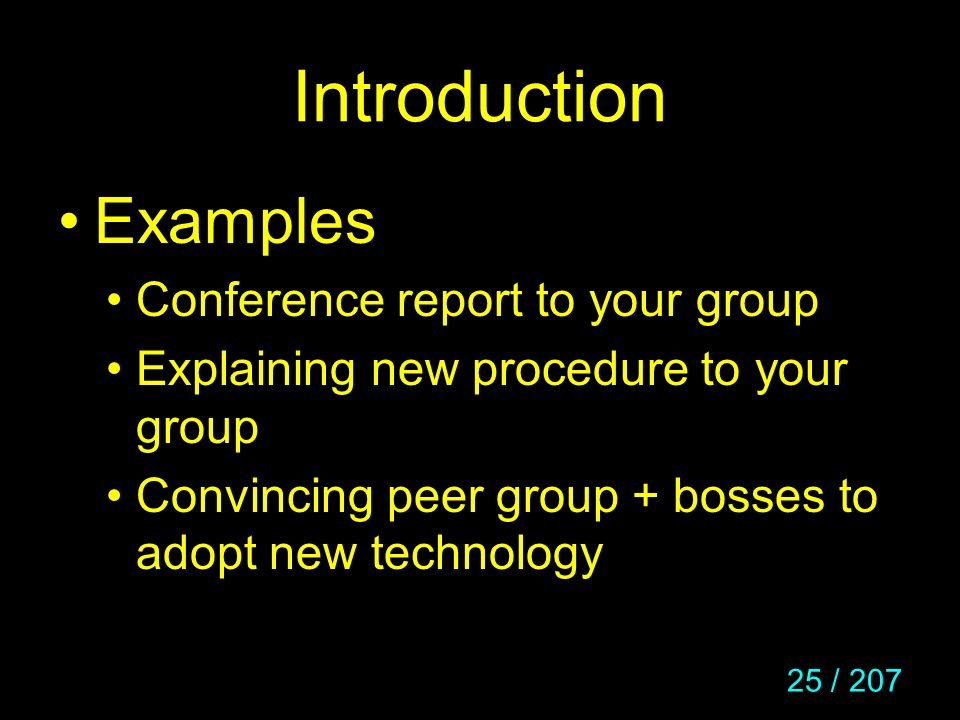 Introduction Examples Conference report to your group