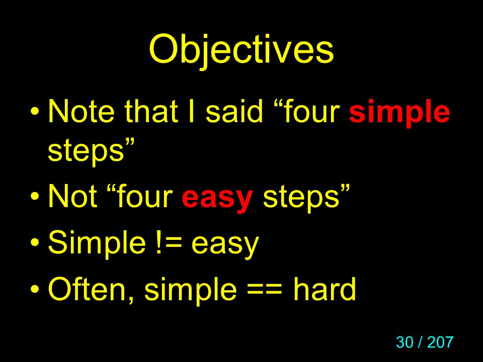 Objectives Note that I said four simple steps Not four easy steps