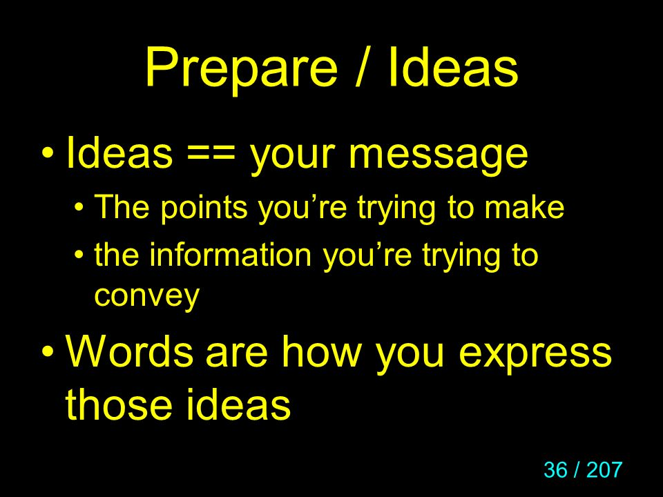 Prepare / Ideas Ideas == your message