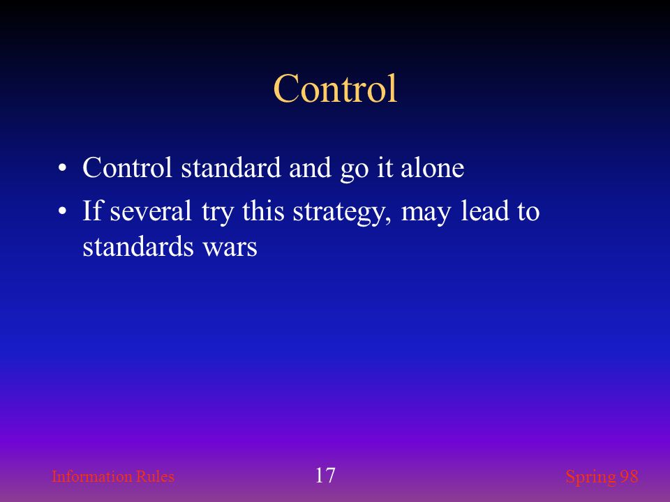 Control Control standard and go it alone