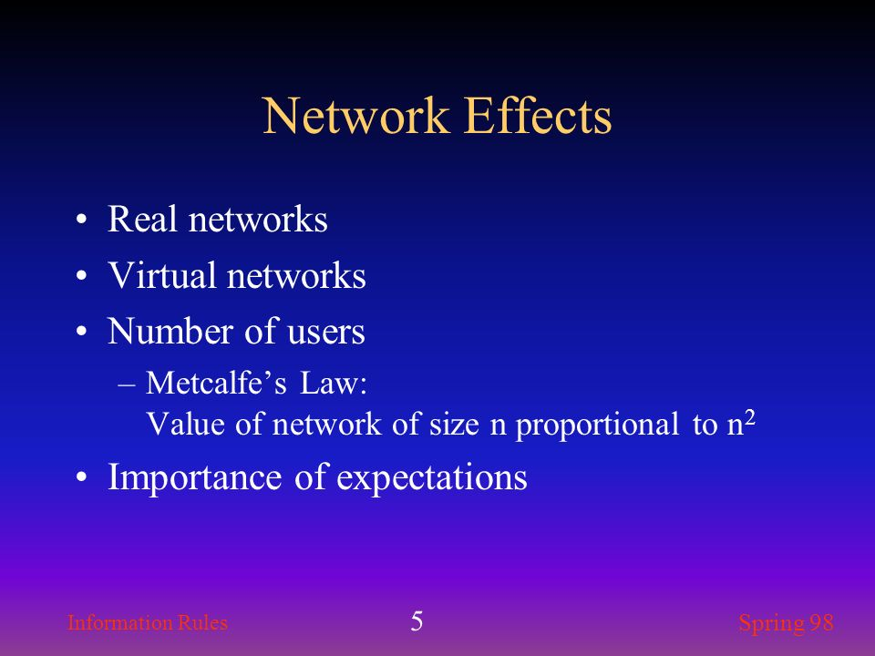 Network Effects Real networks Virtual networks Number of users