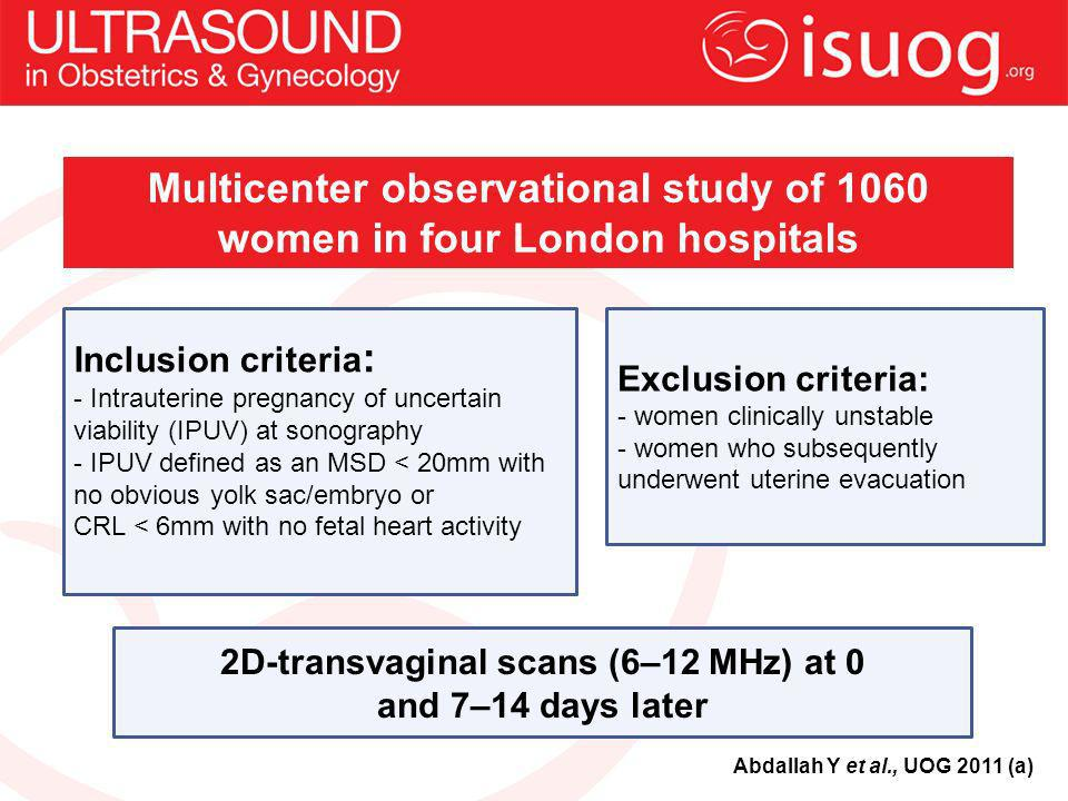 Multicenter observational study of 1060 women in four London hospitals
