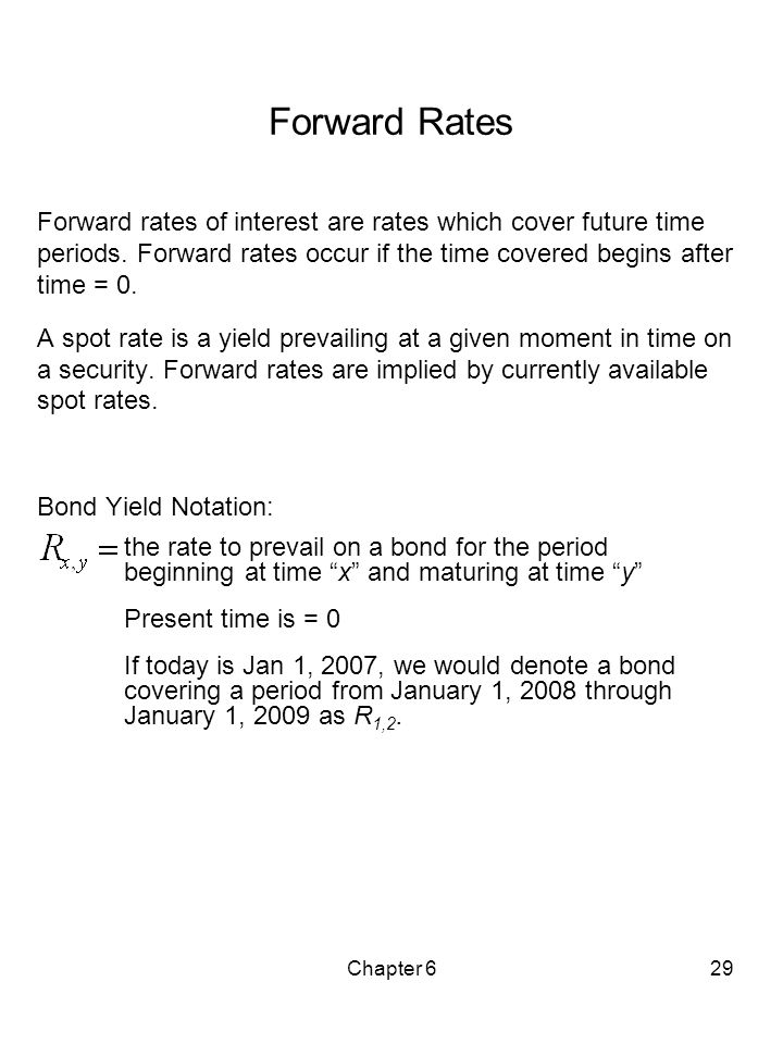 Forward Rates Forward rates of interest are rates which cover future time periods. Forward rates occur if the time covered begins after time = 0.