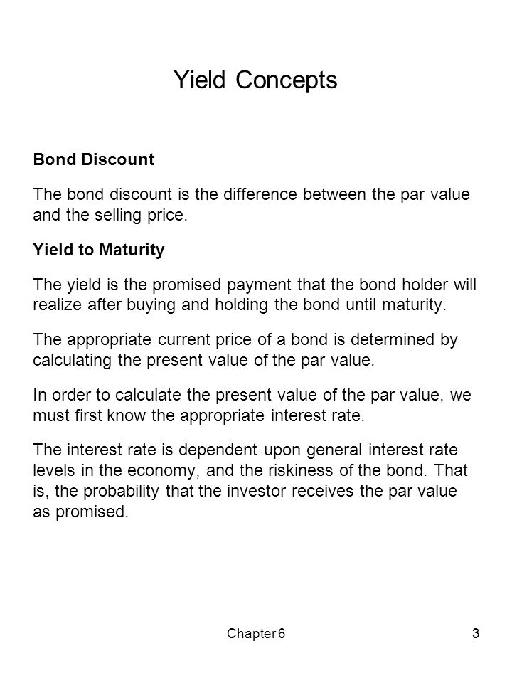 Yield Concepts Bond Discount