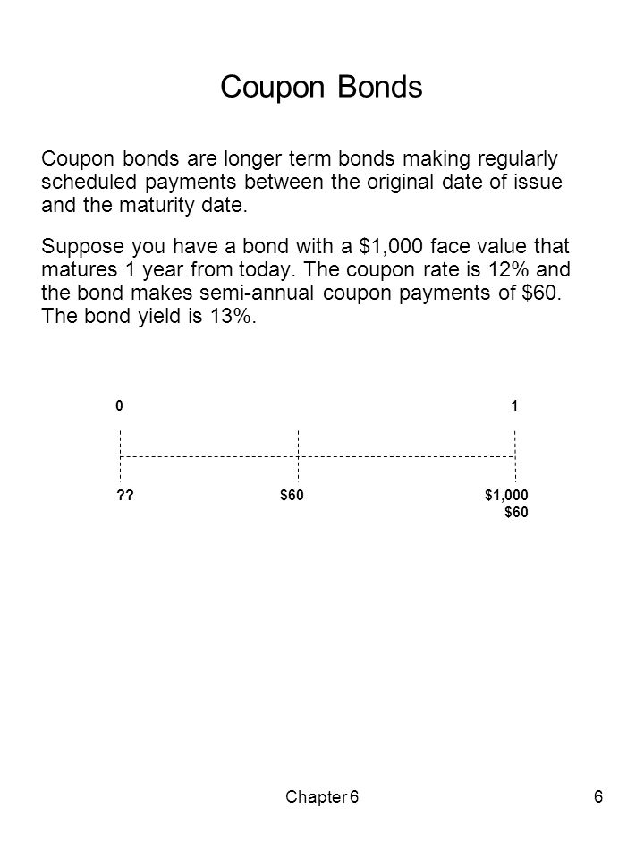 Coupon Bonds Coupon bonds are longer term bonds making regularly scheduled payments between the original date of issue and the maturity date.