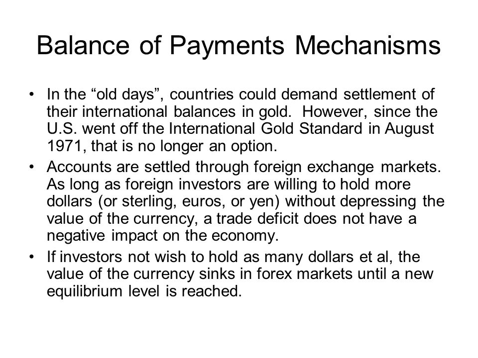 Balance of Payments Mechanisms